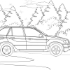 Kid's coloring: The car on the road